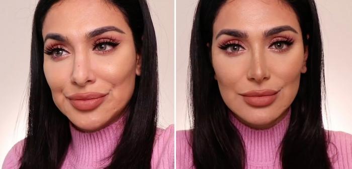 Нос до и после макияжа